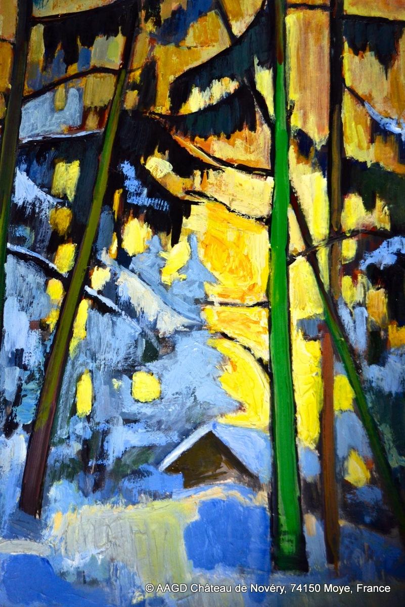 Durand - Sapins enneigés, huile sur carton bois, 51x68 cm.